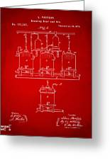 1873 Brewing Beer And Ale Patent Artwork - Red Greeting Card
