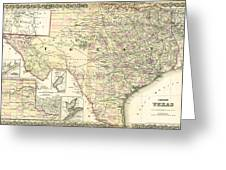 1873 Texas Map By Colton Greeting Card