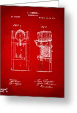 1876 Beer Keg Cooler Patent Artwork Red Greeting Card