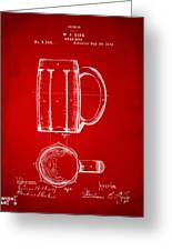 1876 Beer Mug Patent Artwork - Red Greeting Card