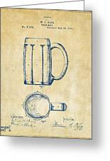 1876 Beer Mug Patent Artwork - Vintage Greeting Card