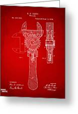 1878 Adjustable Wrench Patent Artwork - Red Greeting Card