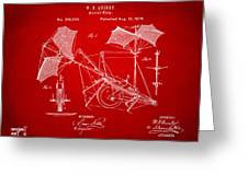 1879 Quinby Aerial Ship Patent - Red Greeting Card
