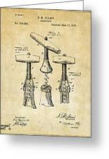 1883 Wine Corckscrew Patent Art - Vintage Black Greeting Card