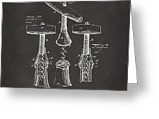 1883 Wine Corckscrew Patent Artwork - Gray Greeting Card by Nikki Marie Smith