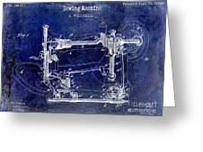 1885 Sewing Machine Patent Drawing Blue Greeting Card