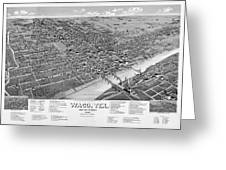 1886 Vintage Map Of Waco Texas Greeting Card