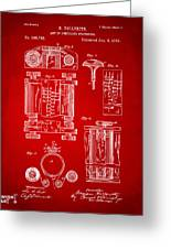 1889 First Computer Patent Red Greeting Card