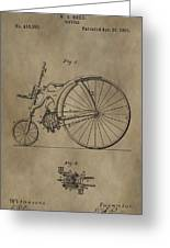 1890 Bicycle Patent Greeting Card