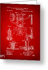 1890 Bottling Machine Patent Artwork Red Greeting Card