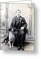 1890 Gentleman And His Dog Greeting Card by Historic Image