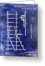 1890 Railway Switch Patent Drawing Blue Greeting Card