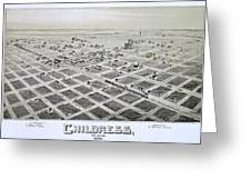 1890 Vintage Map Of Childress Texas Greeting Card