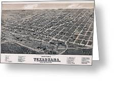 Vintage Perspective Map Of Texarkana Greeting Card