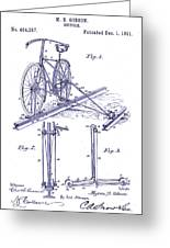 1891 Bicycle Patent Blueprint Greeting Card