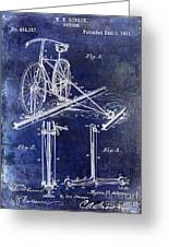 1891 Bicycle Patent Drawing Blue Greeting Card