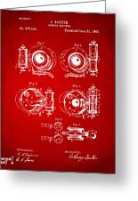 1892 Barker Camera Shutter Patent Red Greeting Card