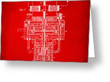 1894 Tesla Electric Generator Patent Red Greeting Card by Nikki Marie Smith