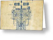1894 Tesla Electric Generator Patent Vintage Greeting Card by Nikki Marie Smith