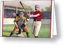 1895 Batter Up At Home Plate Greeting Card