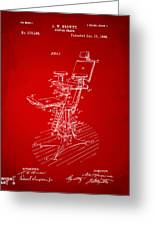 1896 Dental Chair Patent Red Greeting Card