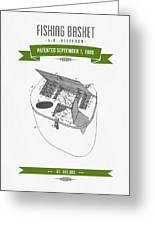 1896 Fishing Basket Patent Drawing - Green Greeting Card