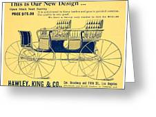 1898 - Hawley King And Company - Surrey Buggy Advertisement - Color Greeting Card