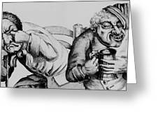 18th Century Engraving Of Alcoholics Greeting Card