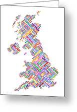 Great Britain Uk City Text Map Greeting Card