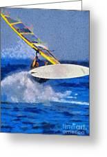Windsurfing Greeting Card by George Atsametakis