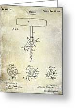 1900 Corkscrew Patent Drawing Greeting Card