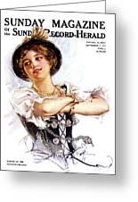 1900s 1913 Smiling German Girl Wearing Greeting Card