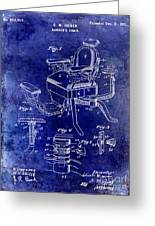 1901 Barber Chair Patent Drawing Blue Greeting Card
