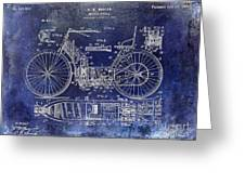 1901 Motorcycle Patent Drawing Blue Greeting Card