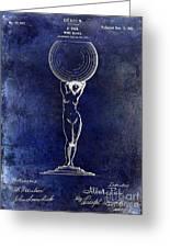 1901 Wine Glass Design Patent Blue Greeting Card
