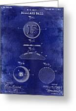 1902 Billiard Ball Patent Drawing Blue Greeting Card