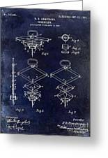 1902 Corkscrew Patent Blue  Greeting Card