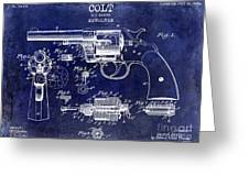 1903 Colt Revolver Patent Drawing Blue Greeting Card