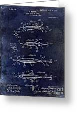 1907 Fishing Lure Patent Blue Greeting Card