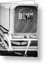 1908 Benz Prince Heinrich Two Seat Race Car Grille Emblem -1696bw Greeting Card