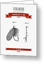 1908 Fish Hook Patent Drawing - Retro Red Greeting Card