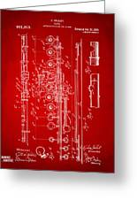 1908 Flute Patent - Red Greeting Card