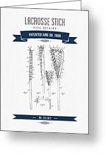1908 Lacrosse Stick Patent Drawing - Retro Navy Blue Greeting Card