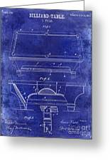 1909 Billiard Table Patent Drawing Blue Greeting Card