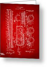 1909 Flute Patent In Red Greeting Card