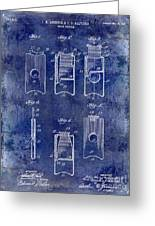 1910 Cigar Cutter Patent Drawing Blue Greeting Card