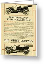 1911 - White Automobile Company Advertisement Greeting Card