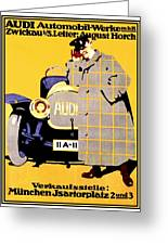 1912 - Audi Automobile Advertisement Poster - Ludwig Hohlwein - Color Greeting Card