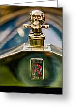 1912 Rolls-royce Silver Ghost Cann Roadster Skull Hood Ornament Greeting Card