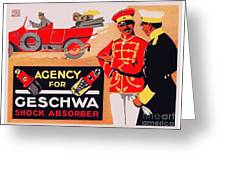 1913 - Geschwa Automobile Shock Absorber Adbertisement - Color Greeting Card